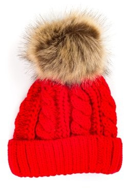 Pop Fashionwear Inc Chunky Knit Beanie with Faux Fur Pom Pom 909HB 789119e0390