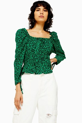 Topshop Womens Vancouver Leopard Ruched Prairie Blouse - Green