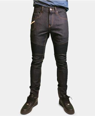 Heritage America Men Raw Denim Moto Jeans