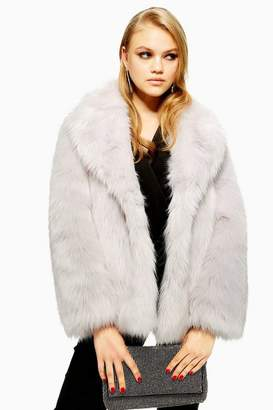Topshop Tall Luxe Faux Fur Coat