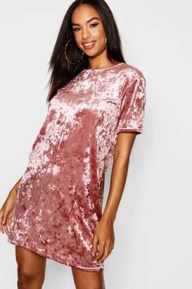 boohoo Tall Crushed Velvet T-Shirt Dress