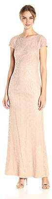 Vera Wang Women's Cap Sleeve Lace Gown with Sequins and Deep V Back