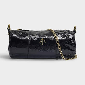56ea0eb9af1bb Atelier Manu Cylinder Bag In Black Soft Crinkled Patent Calf Leather