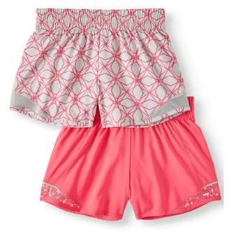 Athletic Works Active Running Shorts, 2-Pack (Little Girls & Big Girls)