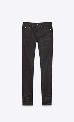 863af727122183 Saint Laurent Skinny Fit Jeans Low Waisted Skinny Jeans In Coated Black  Stretch Denim Coated Black