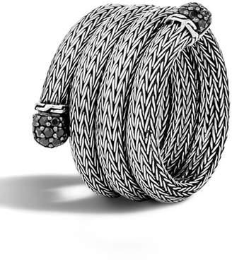 John Hardy Sterling Silver Black Sapphire Wraparound Snake Chain Ring - Size 7