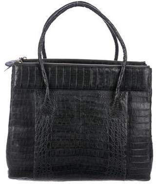 Nancy Gonzalez Crocodile Double Zip Work Tote