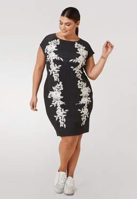 Marée Pour Toi Maree Pour Toi Pinstripe Midi Dress w/ Lace Applique in Gray Size 12