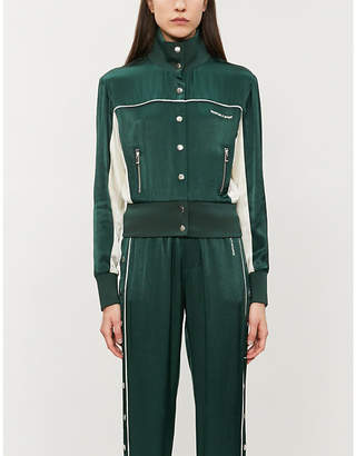 The Kooples Buttoned-down cropped satin bomber jacket