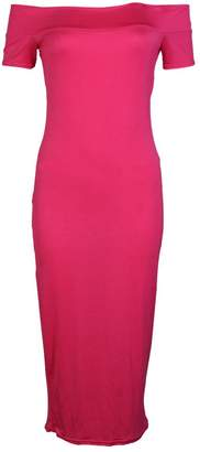My1stWish Women's Off The Shoulder Bodycon Stretch Slim Fitted Long Midi Dress