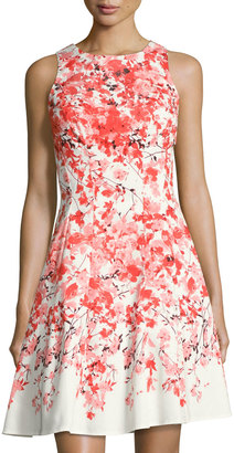 Maggy London Floral-Print Fit & Flare Dress, Orange Pattern $89 thestylecure.com