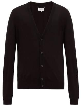 Maison Margiela Elbow Patch Cotton Blend Cardigan - Mens - Black