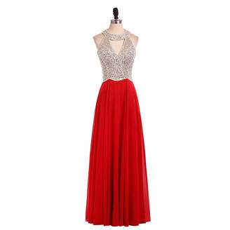LiCheng Bridal Sparkly Beaded Halter Chiffon Long Evening Dresses Prom Party Gowns US
