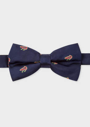 Paul Smith Men's Navy Embroidered 'Dreamer Frog' Silk Bow Tie