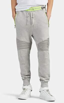 Balmain Men's Cotton French Terry Biker Sweatpants - Gray