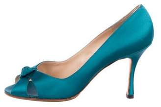 Manolo Blahnik Satin Peep-Toe Pumps