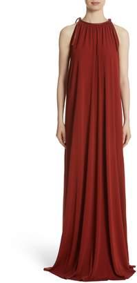 Rosetta Getty Leather Tie Neck Maxi Dress