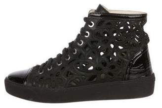 Chanel Embroidered Cap-Toe Sneakers