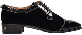 Gucci Black Patent Leather And Velvet Lace-up Shoes