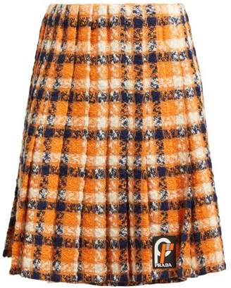Prada Tartan Tweed Midi Skirt - Womens - Orange Multi