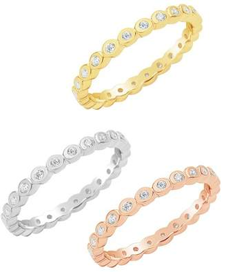 Sterling Forever 14K Tricolor Gold Vermeil Bezel CZ Stacking Rings - Set of 3