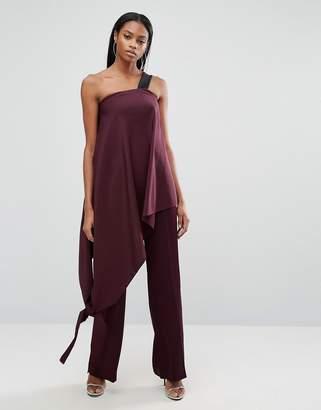 AQ AQ AQ/AQ Asymmetric Jumpsuit With Contrast Strap $211 thestylecure.com
