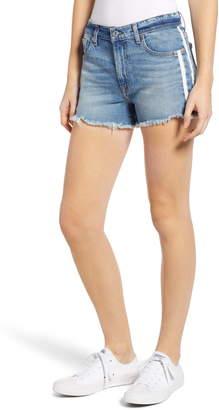 7 For All Mankind High Waist Double Side Stripe Cutoff Denim Shorts