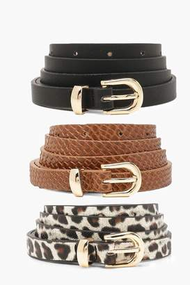 boohoo Plus 3 Pack Hip Belts Snake & Leopard