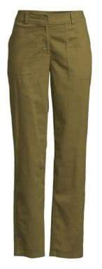 Eileen Fisher Women's Cropped Wide Leg Cargo Ankle Pants - Olive - Size 0