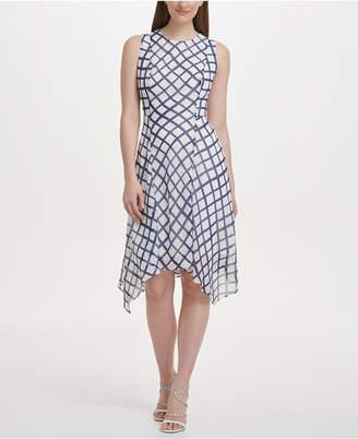 DKNY Chiffon Checkered Handkerchief Hem Dress