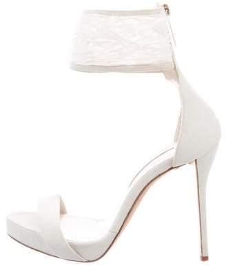 Oscar de la Renta Feather-Embellished Platform Sandals