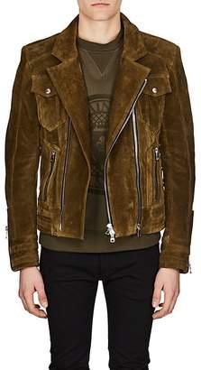 Balmain Men's Lace-Up Suede Moto Jacket