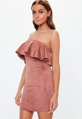 Missguided Rose Faux Suede Bandeau Bodycon Mini Dress