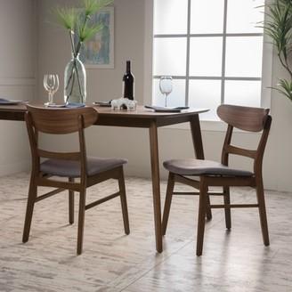 Noble House Odelia Dark Grey Fabric/Walnut Finish Dining Chair, Set of 2