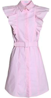 Claudie Pierlot Embellished Ruffled Cotton-Poplin Shirt Dress