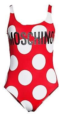 Moschino Women's Flash Swim Polka Dot One-Piece Swimsuit