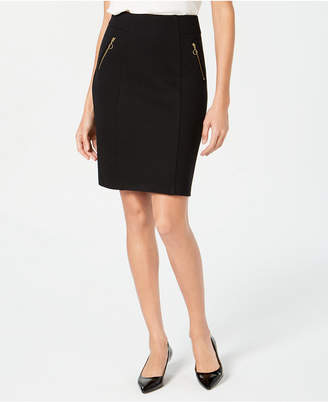 JM Collection Zippered-Pocket Tummy-Control Skirt