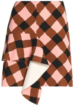 Marni Ruffled Gingham Neoprene Mini Skirt