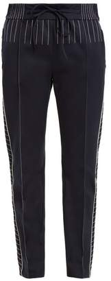 Valentino Slim Leg Jersey Track Pants - Womens - Navy