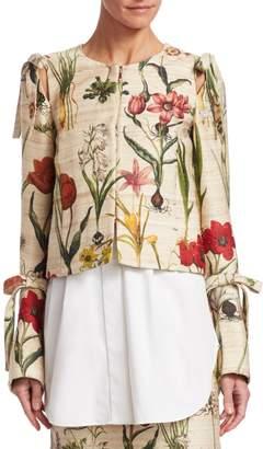 Oscar de la Renta Harvest Floral Cropped Jacket