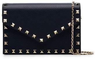 Valentino blue Rockstud leather envelope clutch