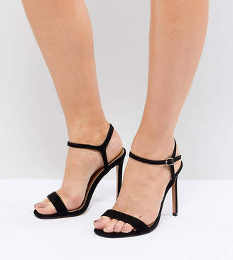 Barely There ASOS DESIGN Hands Down Extra Wide Fit Heeled Sandals