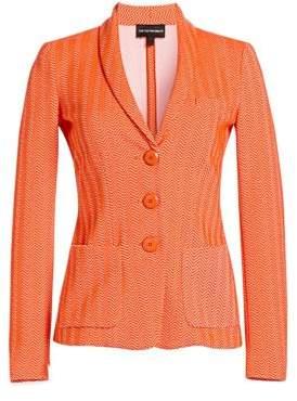 Emporio Armani Women's Three-Button Chevron Blazer - Orange - Size 38 (2)