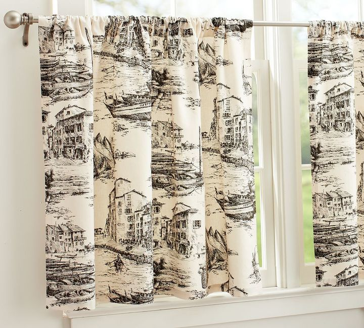Fishing Village Toile Cafe Curtain