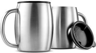 Shopokus ShopoKus Insulated Stainless Steel 14oz Coffee Mug with Lid and Handle 2-Pack