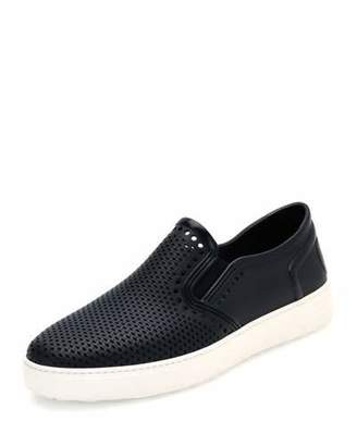 Salvatore Ferragamo Fly Perforated Rubber Pool Shoe, Deep Blue $260 thestylecure.com