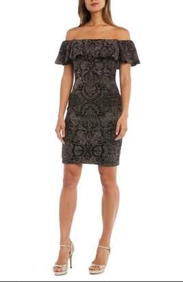 Morgan & Co. Off the Shoulder Glitter Knit Dress