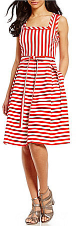 Anne Klein Anne Klein Square Neck Striped Fit & Flare Dress