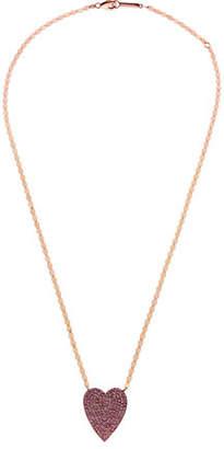 Lana 14k Large Pave Pink Sapphire Heart Pendant Necklace