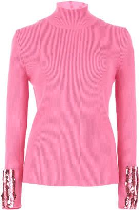 DELPOZO Embellished Merino Wool Mock Neck Sweater
